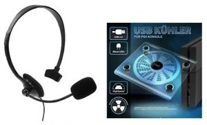 PS4-Gaming-Headset-USB-Kuehler-Luefter-PS4-Staender-blaue-LED-Beleuchtung-fuer-PS4