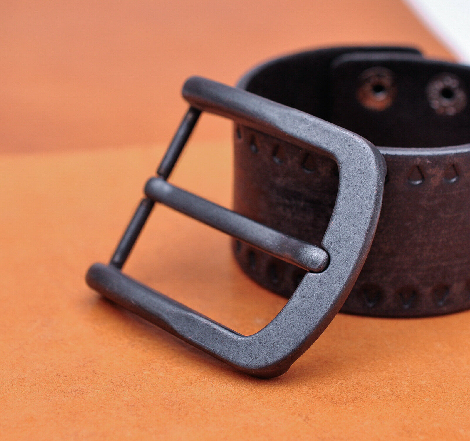 40mm Retro Black Pin Waist Leather Single Prong Clips Belt Buckle Replacement