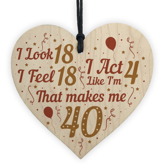 Funny 40th Birthday Gifts For Men Women Decorations Wooden Heart Keepsake