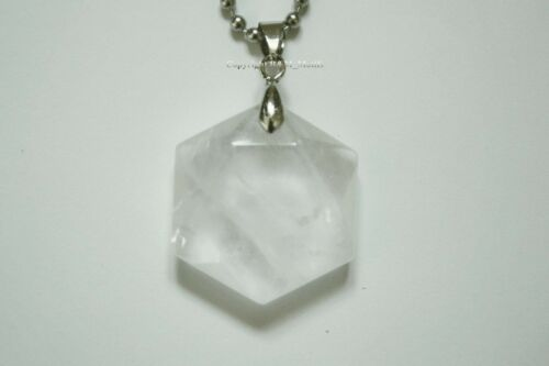 Clear Quartz Natural Crystal Hexagonal David Star Necklace Pendant Gemstone