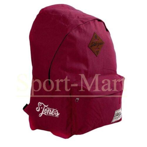 Mens Smith and Jones Burgundy Plum Backpack Rucksack Bag School Gym New