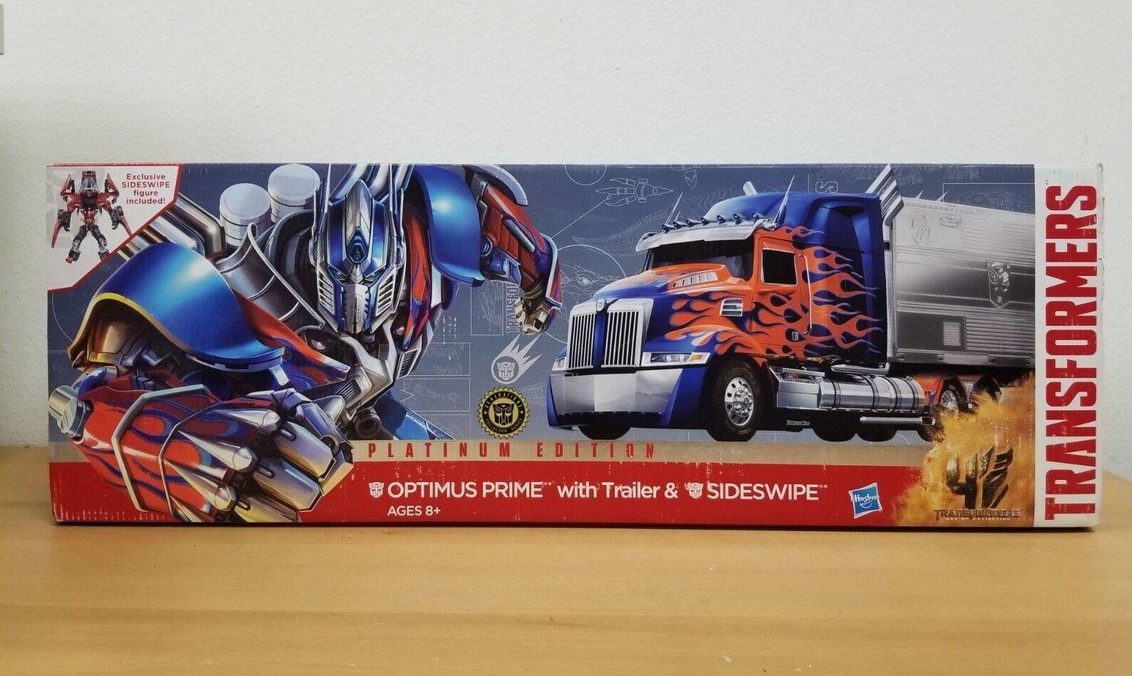 Transformers AGE of Extinction Platinum Edition Optimus Prime Trailer Sideswipe