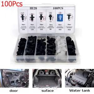 6-Groesse-100x-Auto-Stossstange-Tuer-Kotfluegel-Panel-Push-Pin-Buckle-Clip-Sortiment