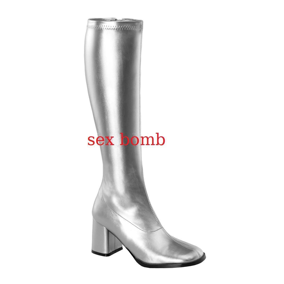 Sexy botas botas botas tacco 7,5 plata dal 35 al 46 zip laterale zapatos cosplay GLAMOUR  lo último