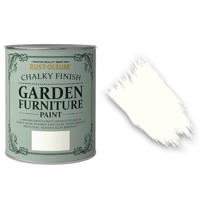 X1 Rust-oleum Craie Crayeux Jardin Meubles Pinceau Peinture 750ml Blanc Mat