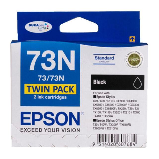 GENUINE Epson Stylus Office 73 73N BLACK TWIN PACK Ink Cartridge Toner T105194