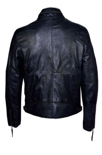 in deluxe lusso da Nappa stile da di Giacca morbido vera motociclista casual nero in pelle uomo zwBZqxAdg