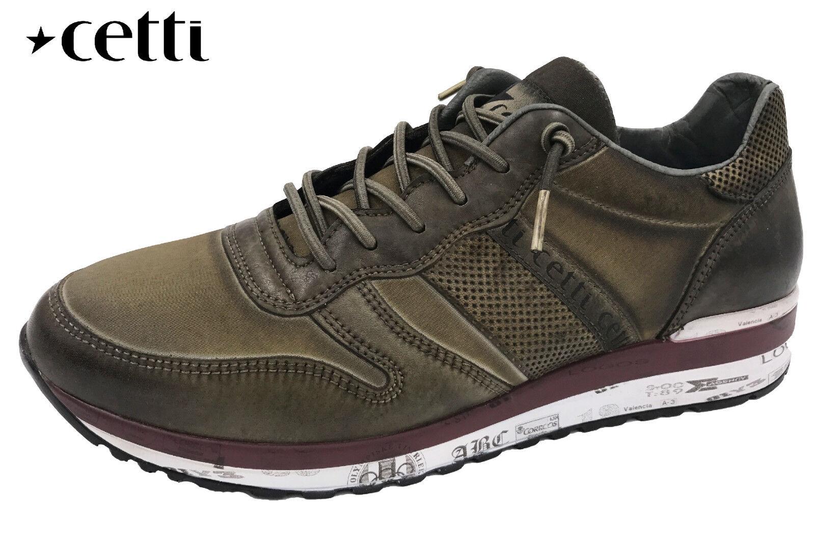 CETTI Herren Turnschuhe Oliv Grün Khaki Leder Schuhe Used-Look NEU C847