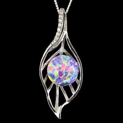 Alducchi White Rainbow Fire Lab Opal CZ .925 Silver Heart Pendant necklace