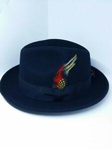 Image is loading Mens-Black-Wool-Lowrider-Milani-hat-Derby-Fedora 0679c039457