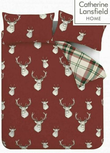 Catherine Lansfield Munro Stag Duvet Quilt Cover Red Check Reversible Bedding