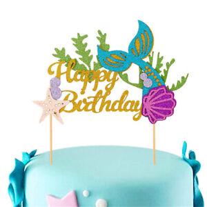 Lettres-Imprime-Paillettes-Or-sirene-Cake-Topper-Joyeux-Anniversaire-Acrylique-Decoration