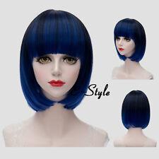 Blue Gradient Black Wavy 30CM Short Lolita Women Bob Daily Party Cosplay Wig