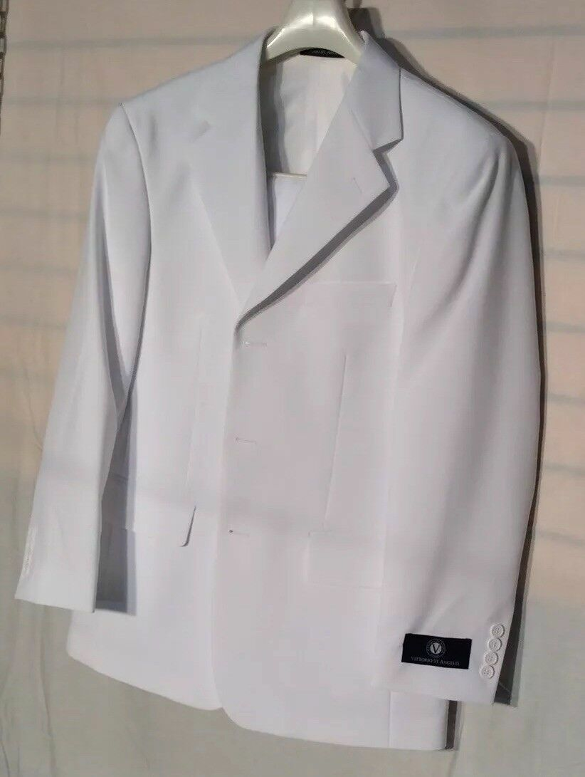 Vittorio St. Angelo Men's Suit Solid color white Size 38S 32W  new.