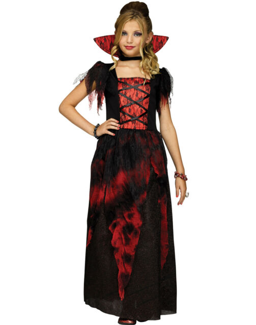 Countessa Girls Victorian Vampire Red Black Dress Halloween Costume