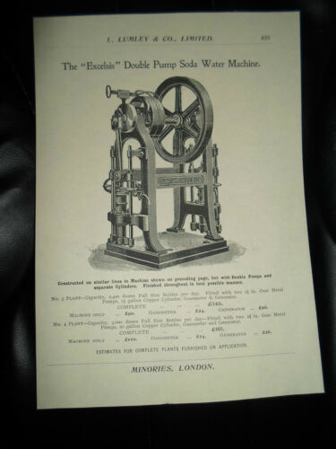 """Excelsis"" Double Pump Soda Water Machine Copy Print L Lumley+Co Minories London"