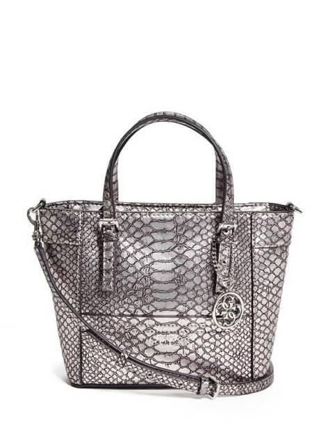 b263624032da Guess Delaney Crossbody mini Tote purse Handbag Python Embossed Metallic  Pewter
