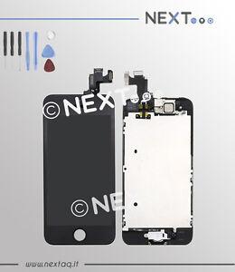 Schermo-touch-screen-vetro-retina-display-frame-iphone-5S-nero-kit-riparazione