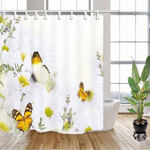 environ 180.34 cm Papillon et Blanc Fleurs Rideau de douche salle de bains Tissu /& 12 crochets 71 x 71 in