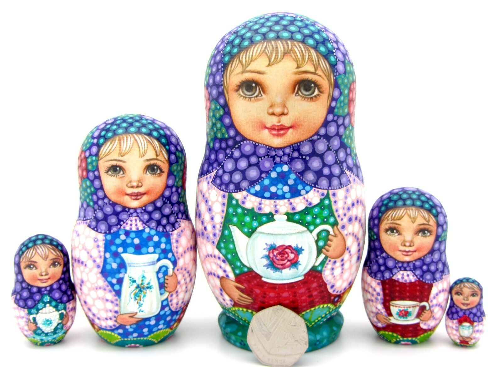 Nesting Russian Dolls Matryoshka Babushka 5 Girls SOKIRKINA MATT Tea Drinking