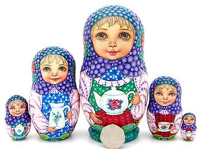 2019 Moda Matriosca Sokirkina Tea Bere Babushka 5 Ragazze Matt Nidificazione Bambole Russe-mostra Il Titolo Originale