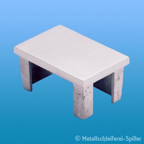 Edelstahl Einsteckkappe rechteckig Rohrstopfen Deckel 240 K geschliffen V4A