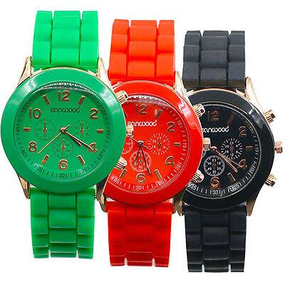 New Girl's Women's Geneva Silicone Jelly Gel Quartz Analog Sports Wrist Watch