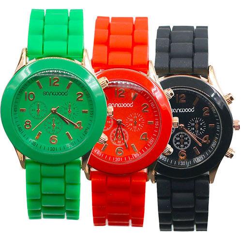 New Geneva Women Men Couple Silicone Quartz Analog Sports Wrist Watch 14 Colors