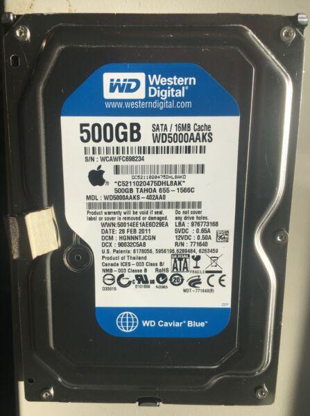 "(100% Health Tested) Wd Wd5000aaks-40v2b0 500gb 3.5"" Apple 655-1473c A1311 Imac Modern Ontwerp"