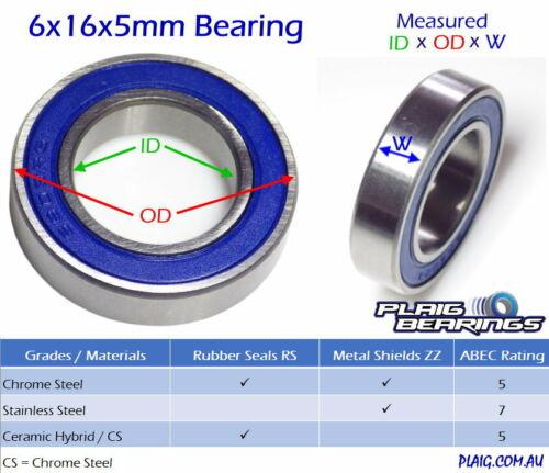 10 6x16x5mm Premium Bearings Pack Precision Contactless Metal Shields MR616zz