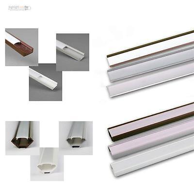 1m LED Kunststoff-Profil mit Abdeckung OPAL, Leiste / Schiene für LED Stripes