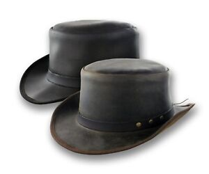 f552b8e94 Distressed Leather Coachman Top Hat Steampunk Tophat Topper Tuxedo ...