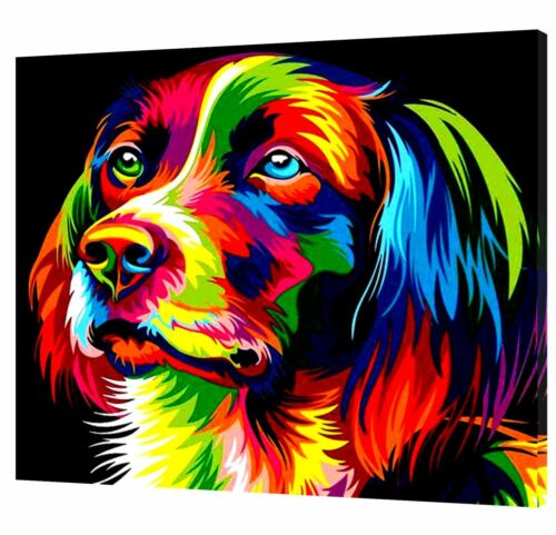 DOG ABSTRACT PAINTING PICTURE PRINT ON FRAMED CANVAS WALL ART HOME DECORATION