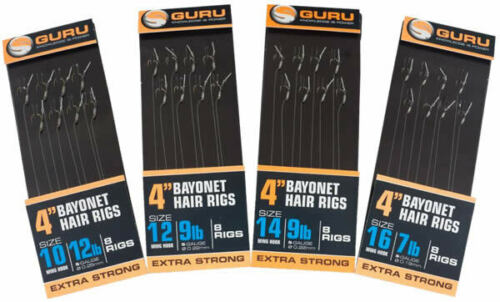 """Guru Extra Strong 4/"""" Bayonet Hair Rigs in Assorted Sizes"""