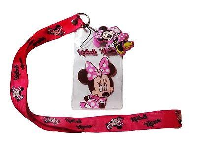 Disney Minni Personaggio Id Supporto Portachiavi W/ Logo Ciondolo Firm In Structure