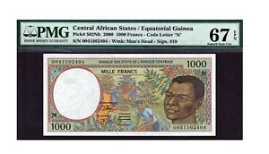 Central African States PMG Certified Banknote UNC 67 EPQ Gem 2000 1000 Francs
