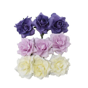 9-Count Paper Flower Embellishments 1-1//2-Inch Pink