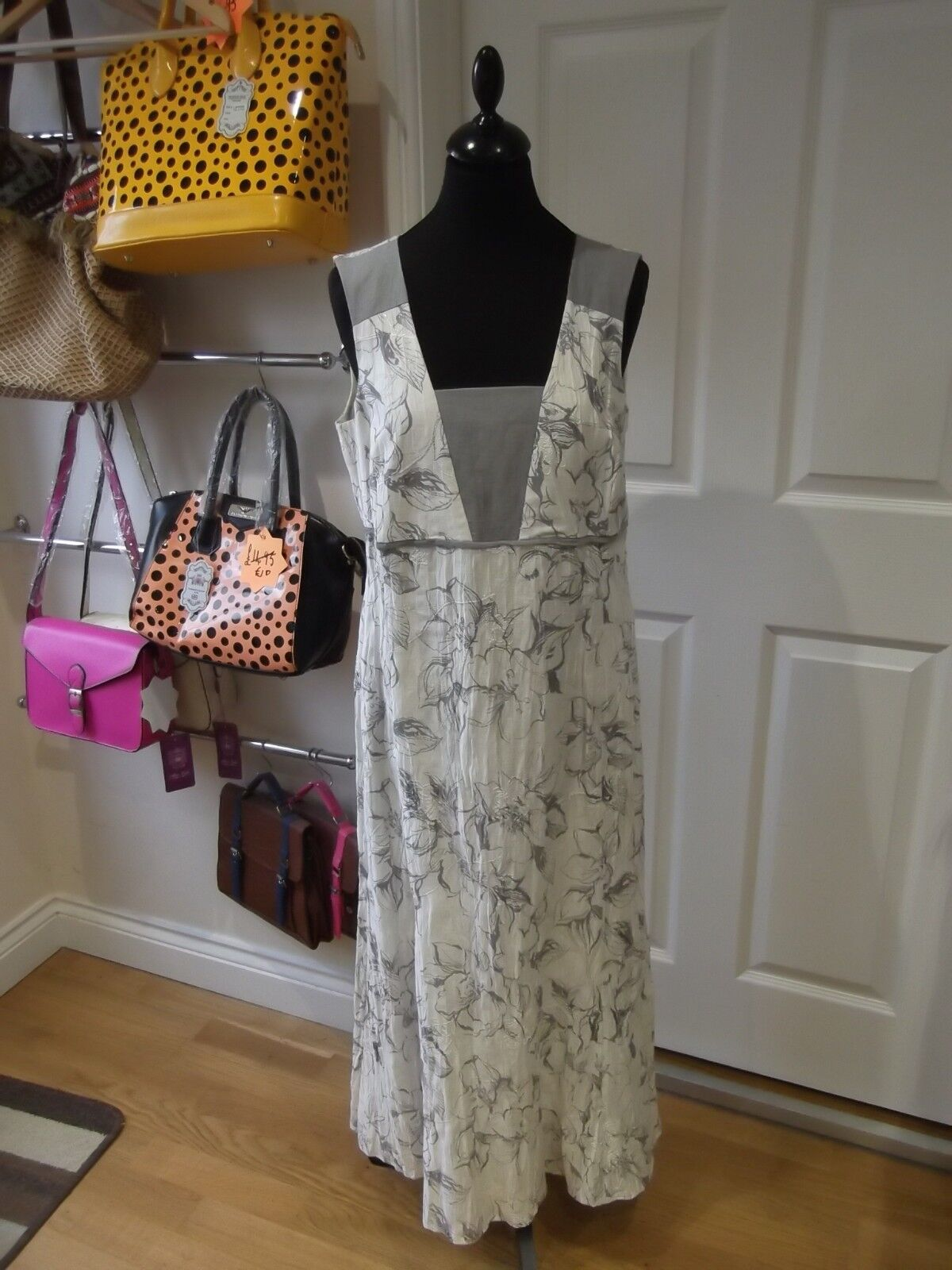 KIRSTEN KROG DESIGN Dress White Grey Floral Print Occasion Wear UK Size 14