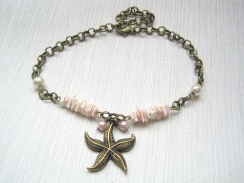 """STARFISH CHARM SHELL PINK PEARL CHAIN Ankle Bracelet Anklet 8/"""" 9/"""" 10/"""" Choice"""