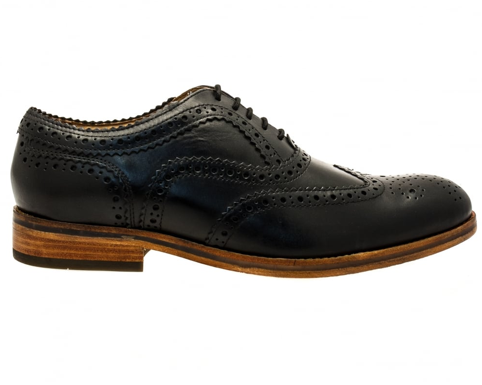H By Hudson Black Keating Brogue Formal Leather Lace Up Derby Smart Shoes 11 45