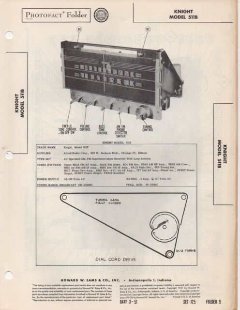 1951 Knight 511b Am Fm Radio Service Manual Photofact