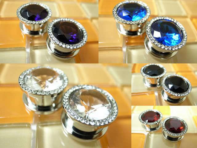 Multiple Glitter Large Shape Crystal Steel Screw Flesh Tunnels Ear Plugs #24
