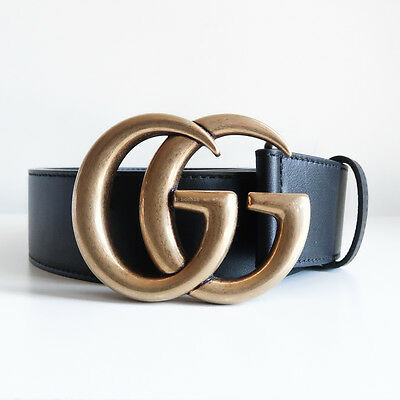 BN GUCCI 'leather belt with double g buckle' black marmont gold 4cm thick 80