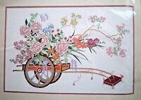 "Dimensions ""oriental Flower Cart"" Crewel Embroidery Kit 24"" X 16"""