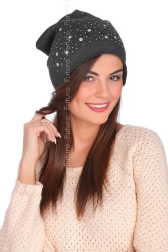 Womens Warm Lightweight Sequined /& Studded Beanie Hat Slouch Hat Skater Cap FZ51