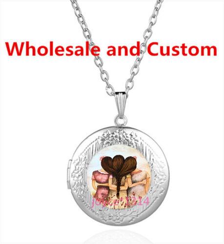 Best Trois Sœurs Cabochon Tibetan Silver Verre Médaillon Collier Pendentif HZ-5711