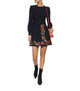 NEW-Ted-Baker-Siliia-Kirstenbosch-Embroidered-Wrap-Dress-in-Navy-Size-5-US-12