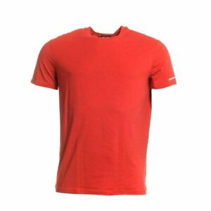 DSQUARED2-T-Shirt-Red-Cotton-Blend-Short-Sleeved-Size-2XL-CF-211