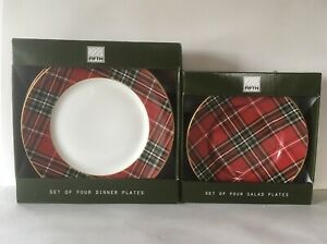 222-FIFTH-WEXFORD-RED-TARTAN-PLAID-SET-OF-4-SALAD-amp-4-DINNER-PLATES-NEW-IN-BOX