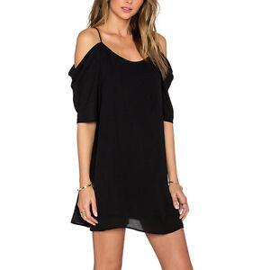 8090e5cc7b27 Women s Off Shoulder Mini Dress Plus Size Chiffon Baggy Tee Shirts ...